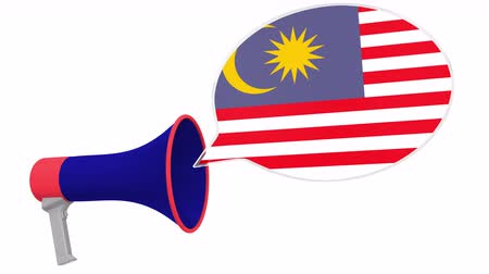 dialect : Loudspeaker and flag of Malaysia on the speech balloon. Language or national statement related conceptual 3D animation