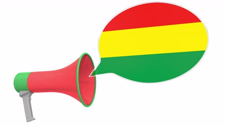 dialect : Loudspeaker and flag of Bolivia on the speech bubble. Language or national statement related conceptual 3D animation