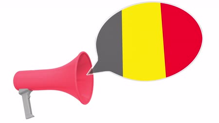 dialect : Loudspeaker and flag of Belgium on the speech bubble. Language or national statement related conceptual 3D animation Stock Footage