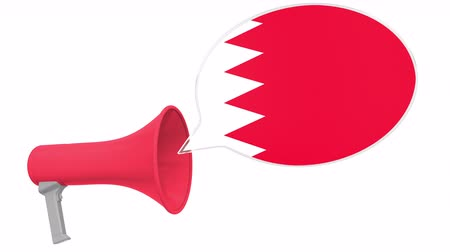 dialect : Loudspeaker and flag of Bahrain on the speech balloon. Language or national statement related conceptual 3D animation