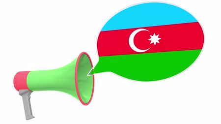aksan : Loudspeaker and flag of Azerbaijan on the speech balloon. Language or national statement related conceptual 3D animation Stok Video