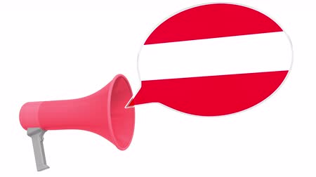 dialect : Megaphone and flag of Austria on the speech balloon. Language or national statement related conceptual 3D animation