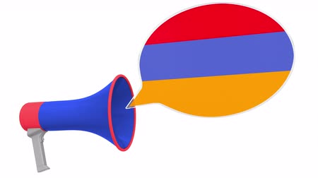 dialect : Megaphone and flag of Armenia on the speech balloon. Language or national statement related conceptual 3D animation