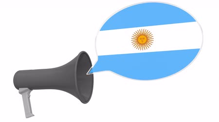 dialect : Megaphone and flag of Argentina on the speech balloon. Language or national statement related conceptual 3D animation