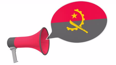 fráze : Megaphone and flag of Angola on the speech bubble. Language or national statement related conceptual 3D animation