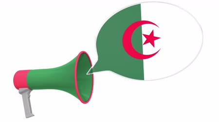 frase : Megaphone and flag of Algeria on the speech bubble. Language or national statement related conceptual 3D animation Vídeos