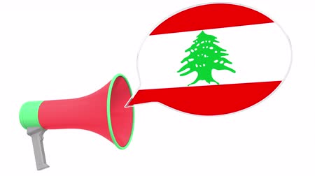 dialect : Loudspeaker and flag of Lebanon on the speech balloon. Language or national statement related conceptual 3D animation Stock Footage