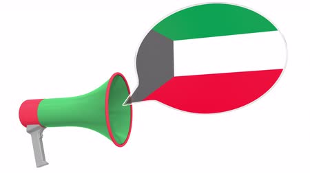 Речь воздушный шар : Loudspeaker and flag of Kuwait on the speech bubble. Language or national statement related conceptual 3D animation