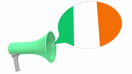 dialect : Loudspeaker and flag of the Republic of Ireland on the speech bubble. Language or national statement related conceptual 3D animation
