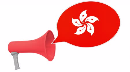 mededeling : Loudspeaker and flag of Hong Kong on the speech bubble. Language or national statement related conceptual 3D animation