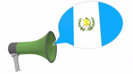 Речь воздушный шар : Loudspeaker and flag of Guatemala on the speech bubble. Language or national statement related conceptual 3D animation Стоковые видеозаписи
