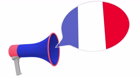 dialect : Loudspeaker and flag of France on the speech balloon. Language or national statement related conceptual 3D animation