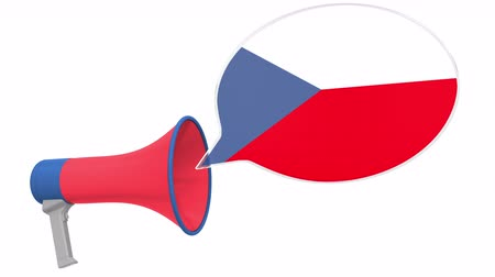 dialect : Megaphone and flag of the Czech Republic on the speech balloon. Language or national statement related conceptual 3D animation