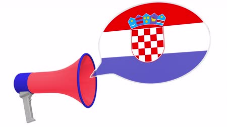 dialect : Megaphone and flag of Croatia on the speech bubble. Language or national statement related conceptual 3D animation