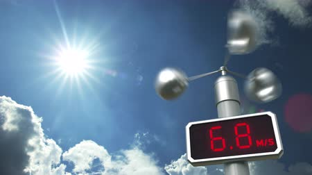 meteorological : Anemometer displays 30 meters per second wind speed. Weather forecast related 3D animation Stock Footage