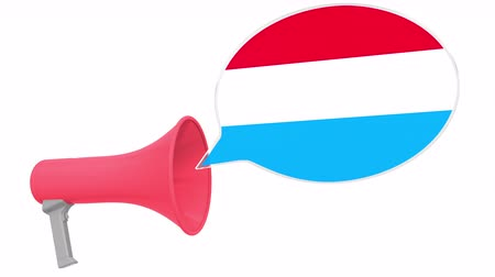 dialect : Loudspeaker and flag of Luxembourg on the speech balloon. Language or national statement related conceptual 3D animation Stock Footage