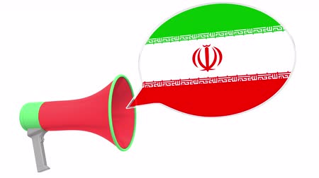 frase : Loudspeaker and flag of Iran on the speech bubble. Language or national statement related conceptual 3D animation