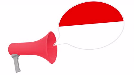 frase : Loudspeaker and flag of Indonesia on the speech bubble. Language or national statement related conceptual 3D animation