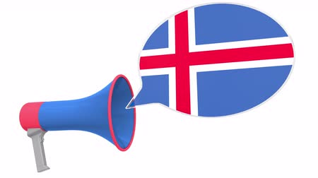 dialect : Loudspeaker and flag of Iceland on the speech bubble. Language or national statement related conceptual 3D animation