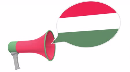 dialect : Loudspeaker and flag of Hungary on the speech bubble. Language or national statement related conceptual 3D animation