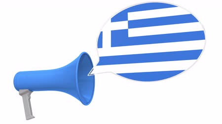 dialect : Loudspeaker and flag of Greece on the speech bubble. Language or national statement related conceptual 3D animation Stock Footage