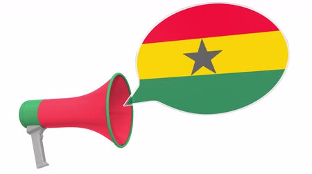 dialect : Loudspeaker and flag of Ghana on the speech bubble. Language or national statement related conceptual 3D animation Stock Footage