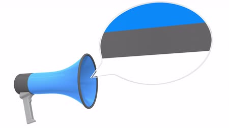 dialect : Loudspeaker and flag of Estonia on the speech balloon. Language or national statement related conceptual 3D animation Stock Footage