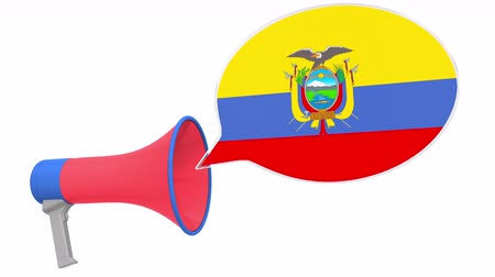 dialect : Megaphone and flag of Ecuador on the speech balloon. Language or national statement related conceptual 3D animation