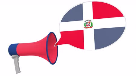 dialect : Megaphone and flag of the Dominican Republic on the speech balloon. Language or national statement related conceptual 3D animation