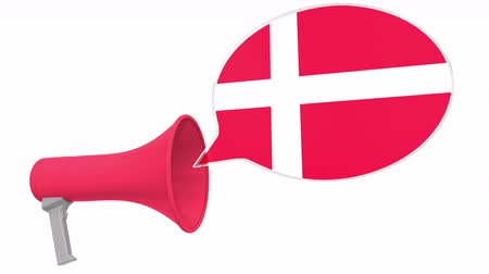 aksan : Megaphone and flag of Denmark on the speech balloon. Language or national statement related conceptual 3D animation Stok Video