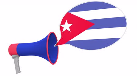 dialect : Megaphone and flag of Cuba on the speech bubble. Language or national statement related conceptual 3D animation Stock Footage