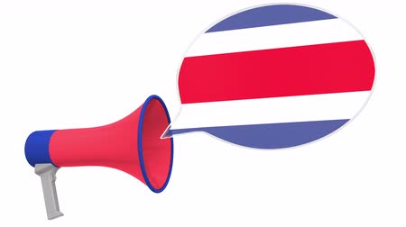Речь воздушный шар : Megaphone and flag of Costa Rica on the speech bubble. Language or national statement related conceptual 3D animation Стоковые видеозаписи
