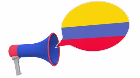 dialect : Megaphone and flag of Colombia on the speech bubble. Language or national statement related conceptual 3D animation Stock Footage