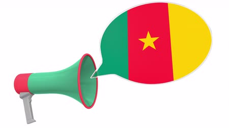 frase : Megaphone and flag of Cameroon on the speech bubble. Language or national statement related conceptual 3D animation