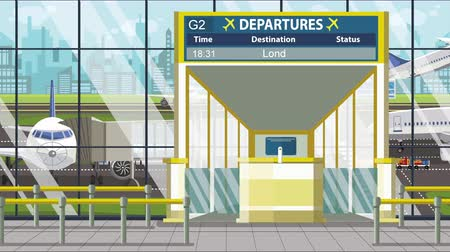 pbb : Flight to London on airport departure board. Trip to the United Kingdom loopable cartoon animation