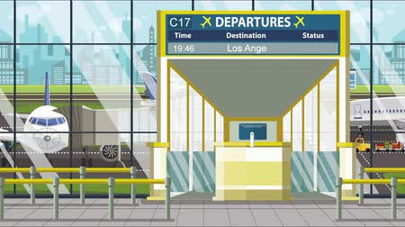 gangway : Departure board in the airport terminal with Los Angeles caption. Travel to the United States loopable cartoon animation Stock Footage