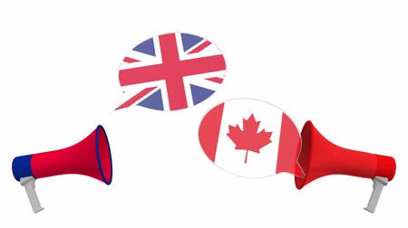 мегафон : Speech bubbles with flags of Canada and the United Kingdom. Intercultural dialogue or international talks related 3D animation