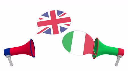 мегафон : Flags of Italy and the United Kingdom on speech balloons from megaphones. Intercultural dialogue or international talks related 3D animation