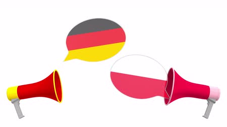 multikulturális : Speech bubbles with flags of Poland and Germany. Intercultural dialogue or international talks related 3D animation Stock mozgókép