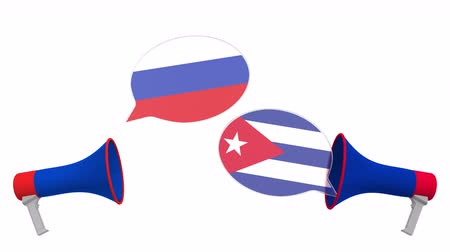 alto falantes : Flags of Cuba and Russia on speech bubbles with loudspeakers. Intercultural dialogue or international talks related 3D animation