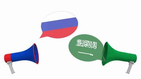 мегафон : Flags of Saudi Arabia and Russia on speech balloons from megaphones. Intercultural dialogue or international talks related 3D animation