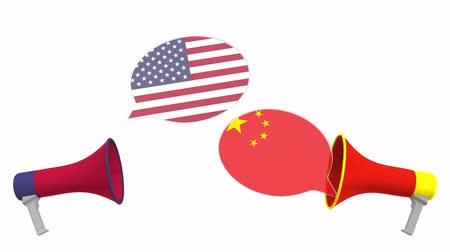мегафон : Flags of China and the USA on speech balloons from megaphones. Intercultural dialogue or international talks related 3D animation