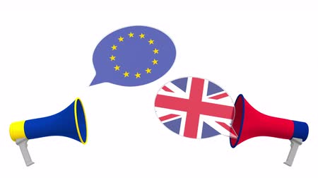 мегафон : Speech bubbles with flags of the UK and the EU and loudspeakers. Intercultural dialogue or international talks related 3D animation Стоковые видеозаписи