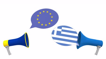 greek flag : Speech bubbles with flags of Greece and the European Union EU. Intercultural dialogue or international talks related 3D animation