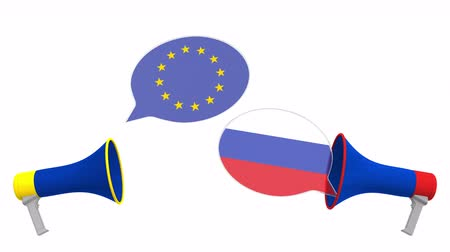 言う : Flags of Russia and the European Union on speech bubbles with loudspeakers. Intercultural dialogue or international talks related 3D animation
