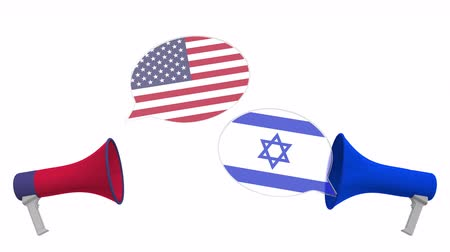 мегафон : Flags of Israel and the USA on speech balloons from megaphones. Intercultural dialogue or international talks related 3D animation