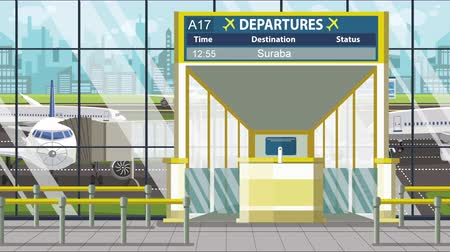 vliegticket : Flight to Surabaya on airport departure board. Trip to Indonesia loopable cartoon animation