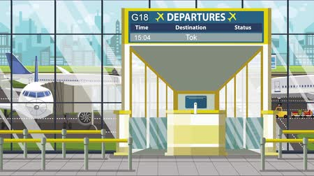 vliegticket : Airport gate. Departure board with Tokyo text. Travel to Japan related loopable cartoon animation