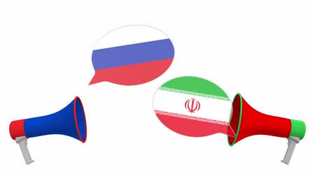 イラン : Speech bubbles with flags of Iran and Russia and loudspeakers. Intercultural dialogue or international talks related 3D animation