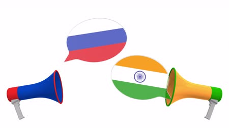 debata : Speech bubbles with flags of India and Russia. Intercultural dialogue or international talks related 3D animation